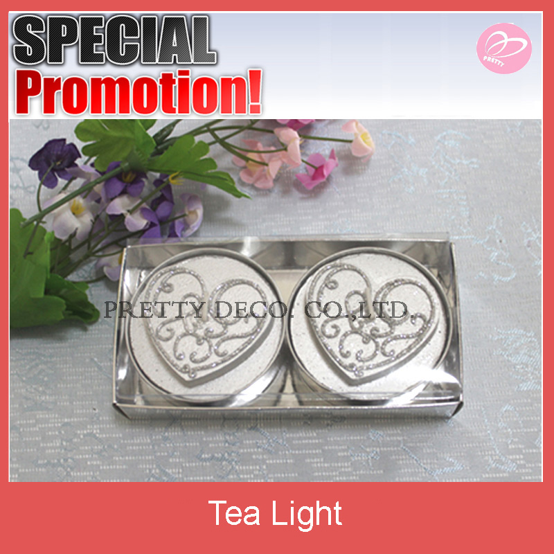 Silver glitter Heart design Valentine's day tea light candle