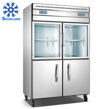 Snowland Factory Commercial Stainless Steel 2 Glass Door Upright