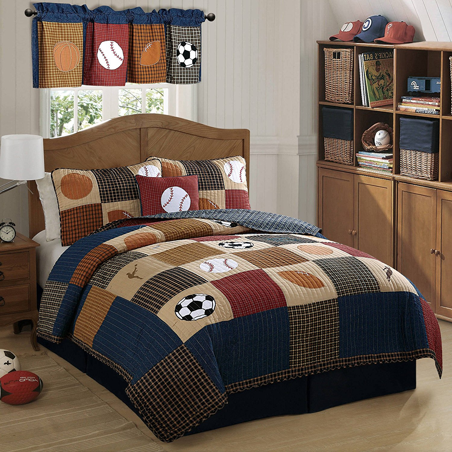 2 Piece Boys Tan Navy Red Brown Royal Blue Grey Twin Quilt Set, Sports Themed Bedding Patchwork Plaid Beige Basketball Soccer Football Baseball Stylish Fun Colorful Bold Athlete, Cotton