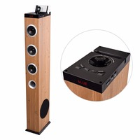 2.1 active floorstanding wooden tower speaker with big bass and BT/AUX/USB/FM function