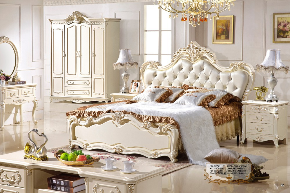 Antique Style French Furniture Elegant Bedroom Sets PC 011