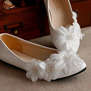 White Wedding Shoes Dance Shoes Pearl and Rhinestone and Silk Flower Wedding Shoes , Jeweled and Decorated , Lace Wedding Shoes, Bridal