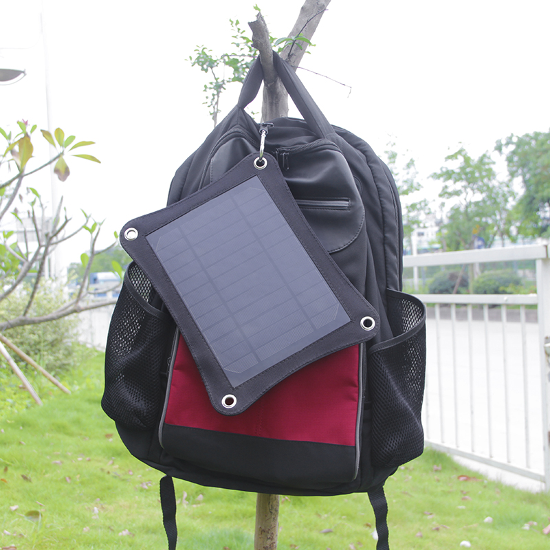 backpack solar charger 6.5W for 5V devices, powerbank, iphone etc