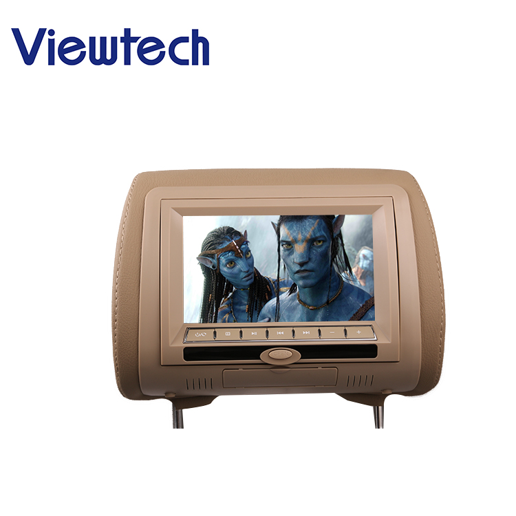 7 inch car dvd tv tft lcd monitor headrest with pillow