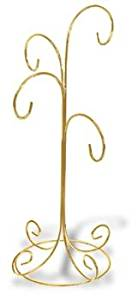 Ornament Display Stand Holds Four Ornaments - Bright Gold Finish (Set Of 2)