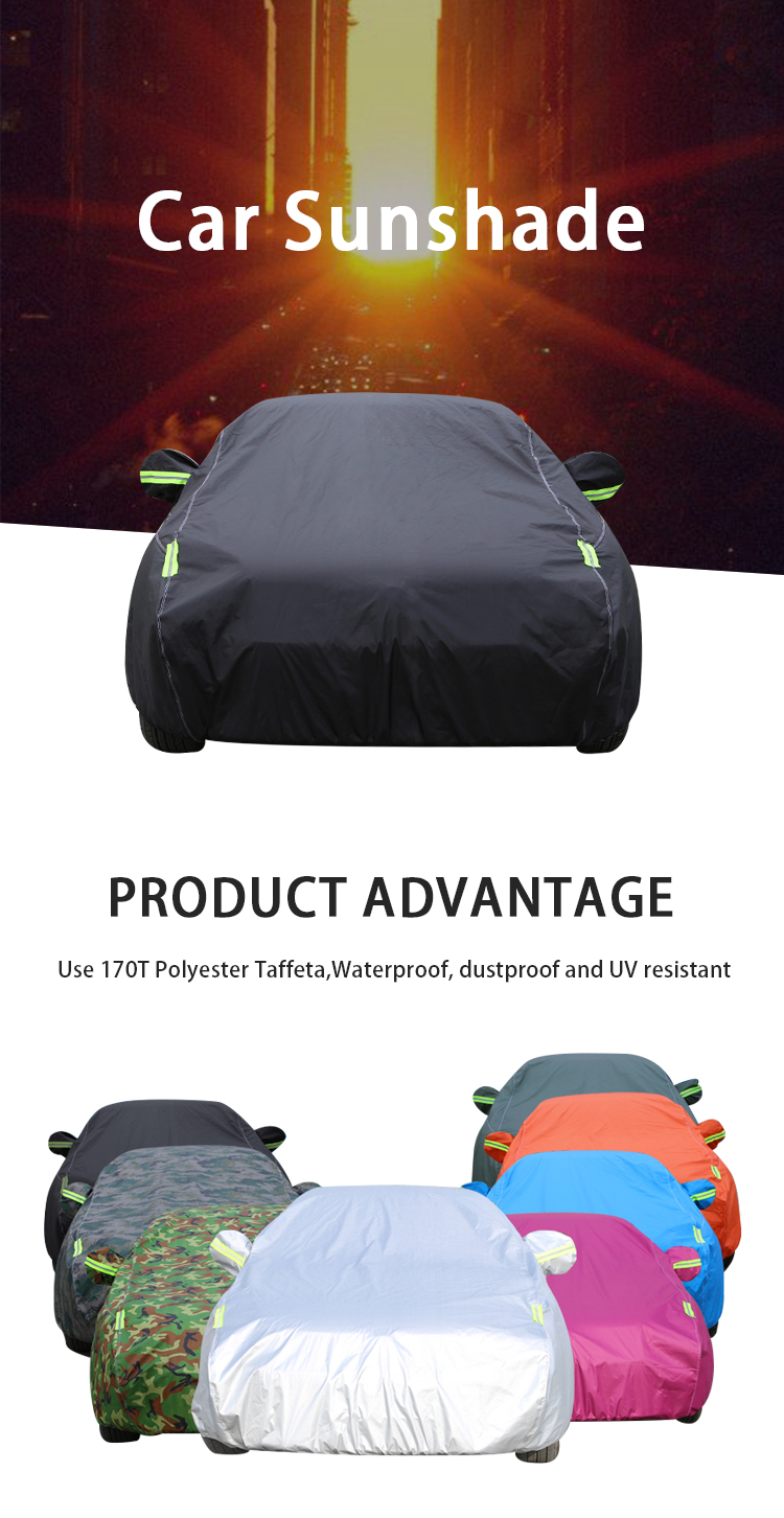 CY-S-49 Polyester taffeta 170 T outdoor universele maat volledige set waterdichte anti dust uv protector auto cover