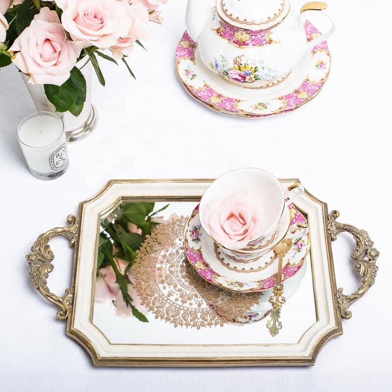 Kare lüks Meyve Servis tepsisi polyresin tatlı ayna tepsi düğün dekorasyon için, avrupa tarzı, ev dekorasyonu, centerpiece