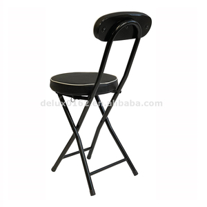 Fine Black Metal Folding Stool With Backrest Machost Co Dining Chair Design Ideas Machostcouk