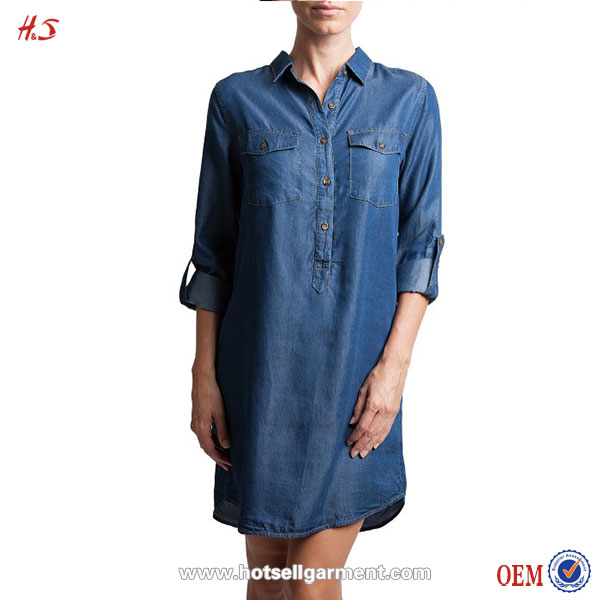 Alibaba New Hotsell Fancy Woman Demin Chambray Shirt Dress