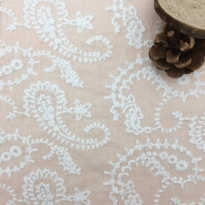 CRF0084 Italian lace design white cotton embroidery velvet fabric