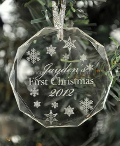Personalized Christmas Ornament Laser Engraved Crystal MH-F0451
