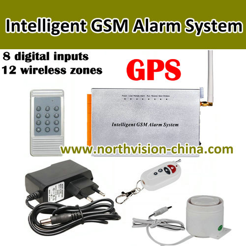 Diy home gsm alarm system,8 digital inputs, 12 wireless zones, quad band, GPS function,battery work 24hours