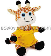 Plush Giraffe With Yellow T-shirt logo custom stuffed Giraffe With Yellow T-shirt animal with bandana t-shirt ps010