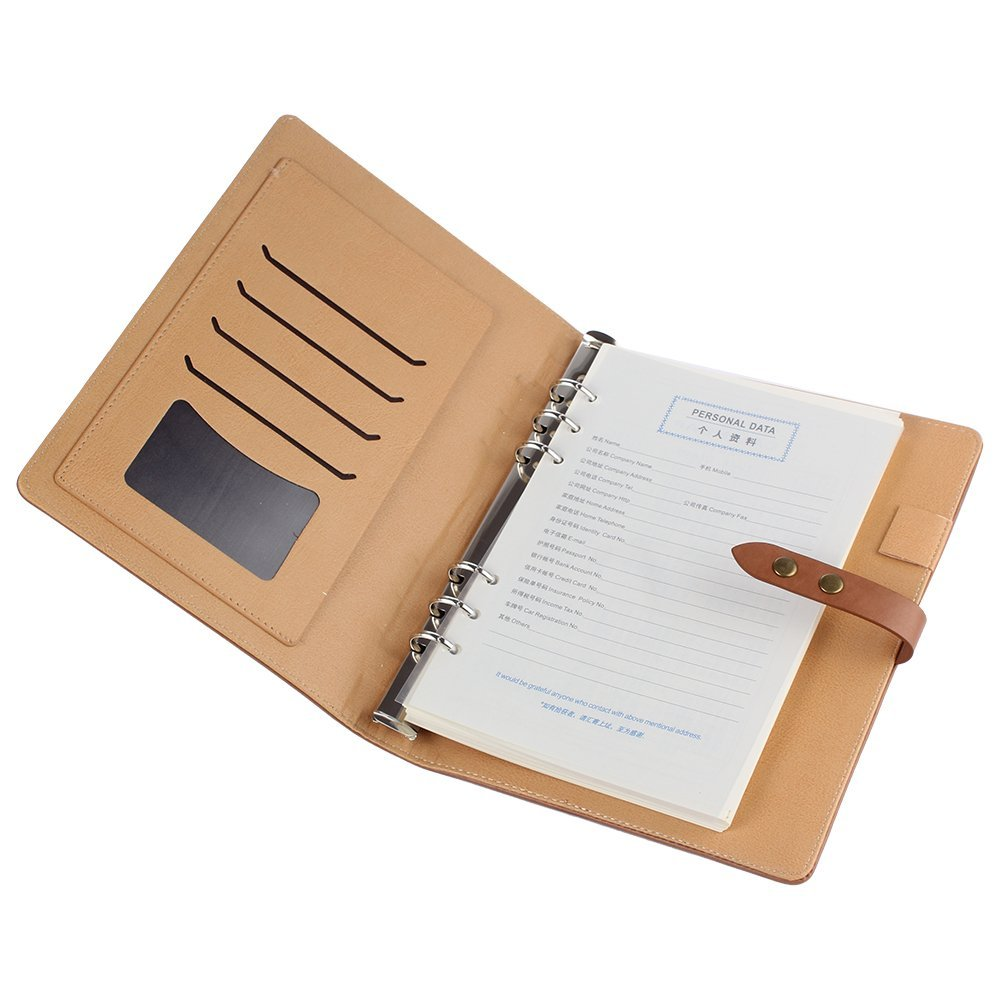Shulaner Business Zippered Pu Leather A5 Size Loose-leaf Notebook, Travel Diary Commercial Notepad (SL-BOOK-04-A5-BR)