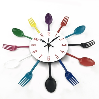 Plastic Knife Fork Spoon Colorful Cutlery Wall Clock