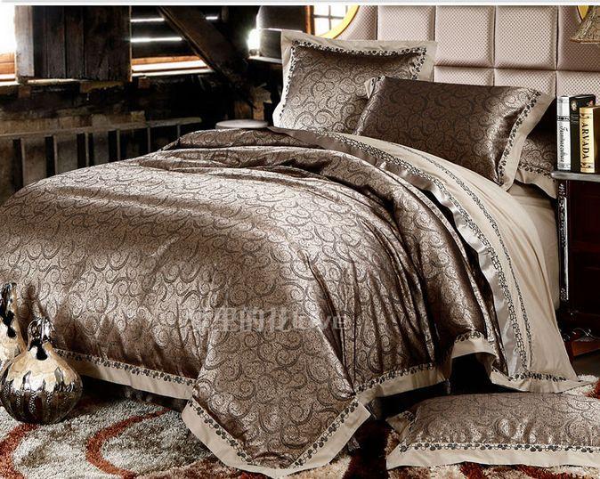 Luxury Jacquard Comforter Bedding Sets Gold Duvet Cover