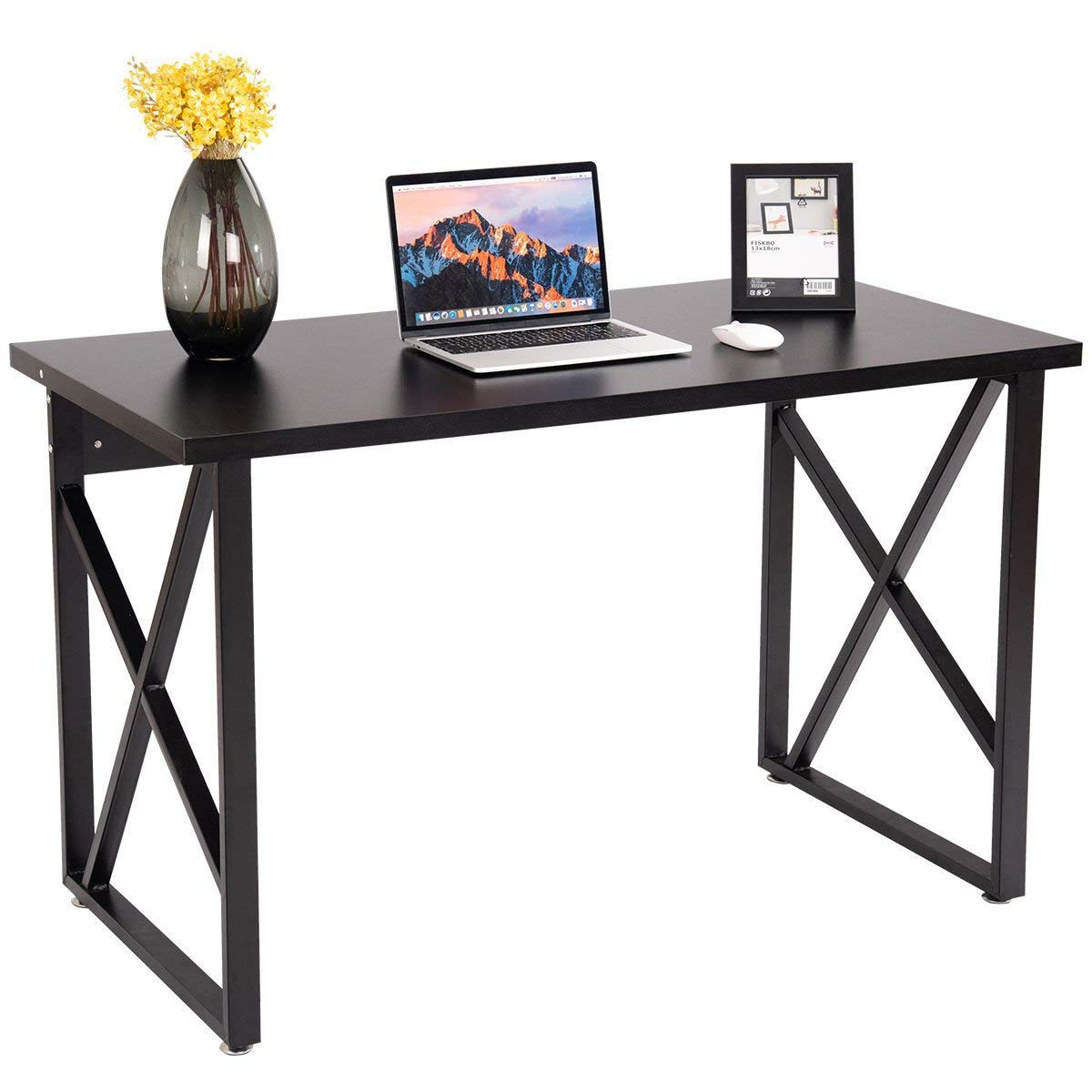 Tangkula Computer Desk PC Laptop Home Office Modern Simple Style Wood Study Workstation Writing Table Wooden Furniture Set (black desktop with black legs)