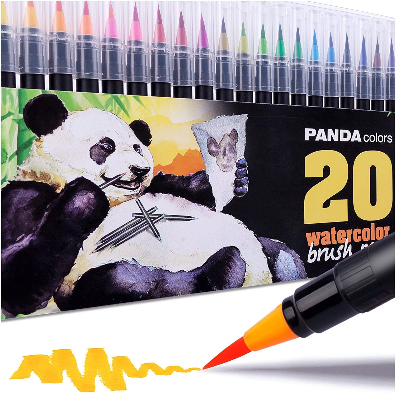 Watercolor Markers - Watercolor Pens - Soft Tip Calligraphy Markers - Watercolor Paint Pens - Watercolor Paint Markers - 20 Colors Paint Brush Pen Set - Watercolor Brush Pens - Suitable for Kids