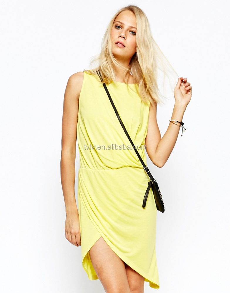 2015 Fashion Loose Fit Sleeveless Wrap Front Summer Causal Women dress