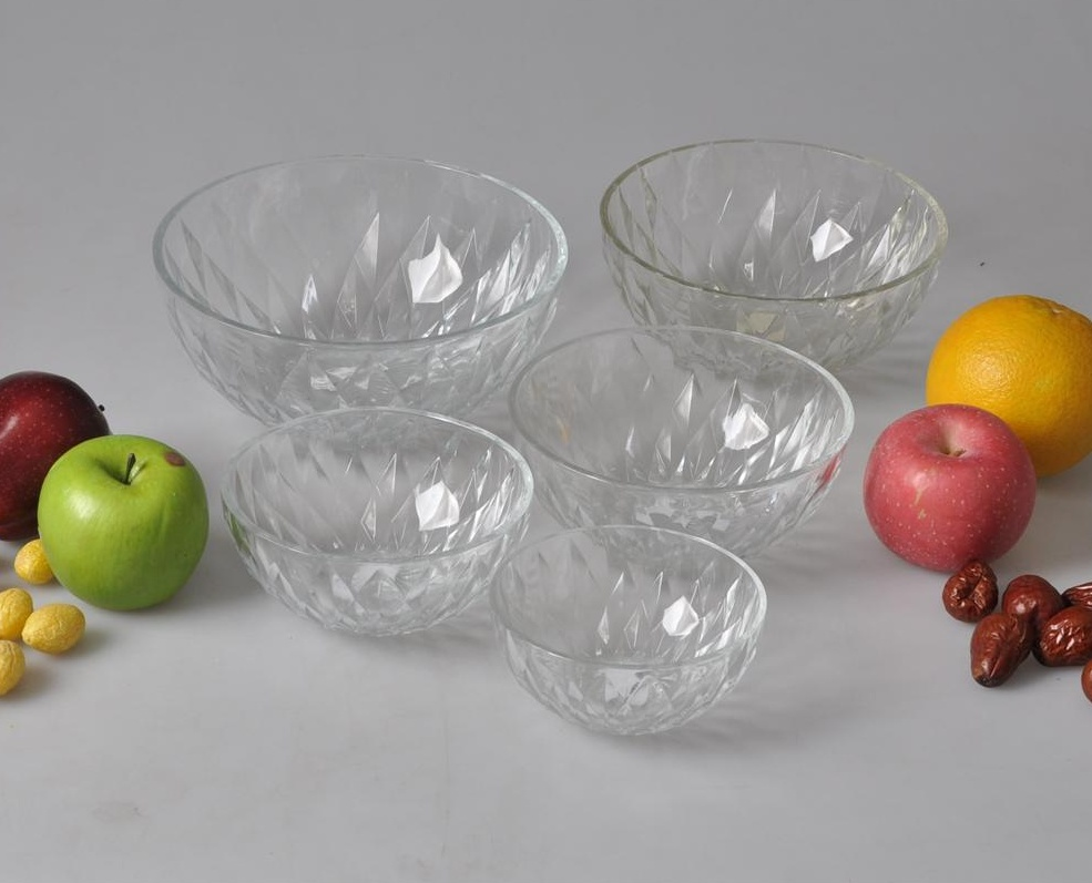5pcs set glass bowls heat resistant large clear glass salad bowls crystal glass fruit bowls