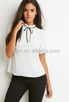 51d14670f042c 2016 glamorous cuello alto blusa 2016 moda damas de manga corta Camisa  blanca