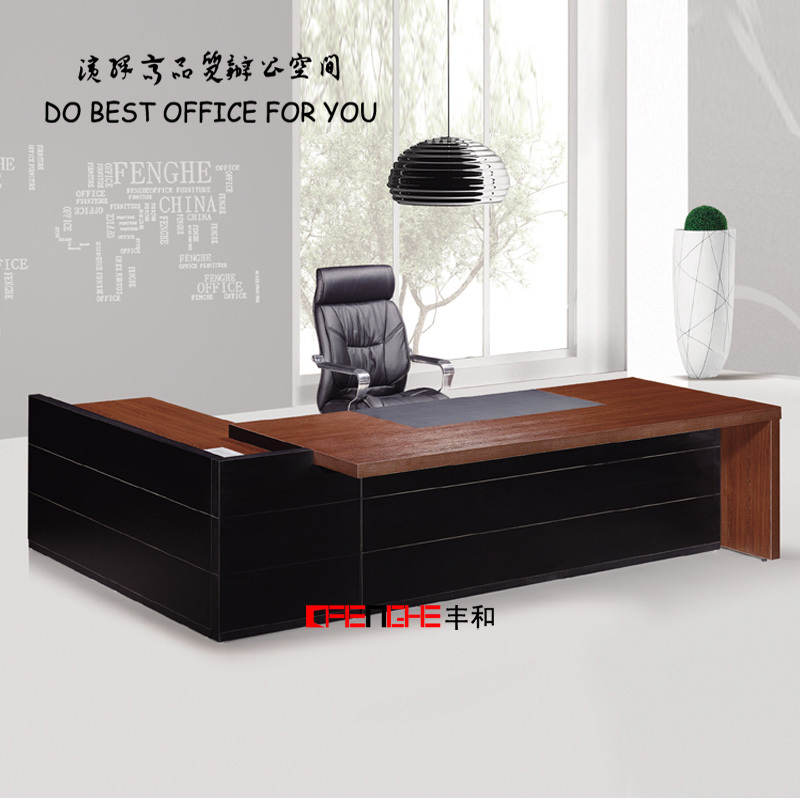Latest wood furniture luxury boss manager table office for Latest design office furniture