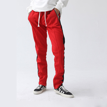 4628ead66eb2 Red side stripe track pants mens custom zipper pocket plain slim fit jogger  pants