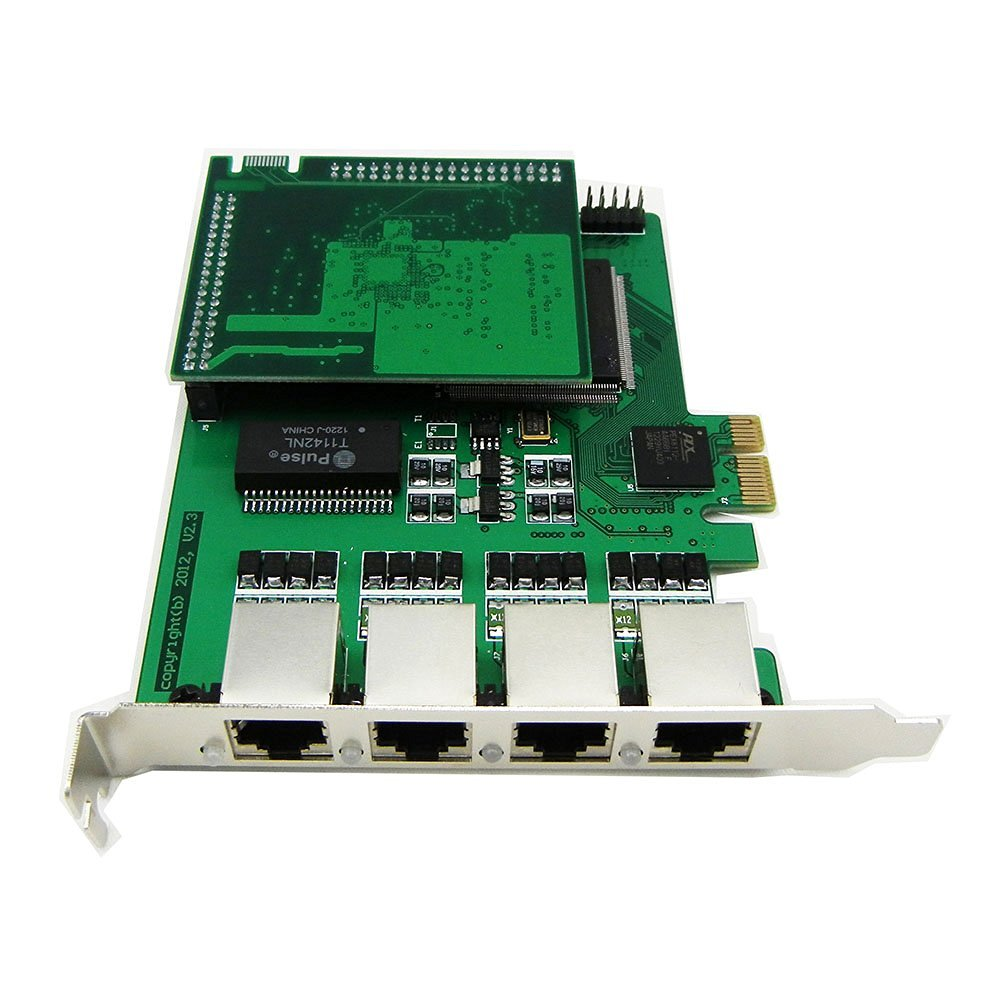 Quad Span Selectable E1 or T1 Pcie Card with Octasic Hardware Echo Cancel Module Suitable for Asterisk Based Applications