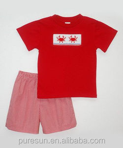 Latest popular baby boys boutique summer outfits crab embroideried red smocked tee clothes & red shorts set child casual suits
