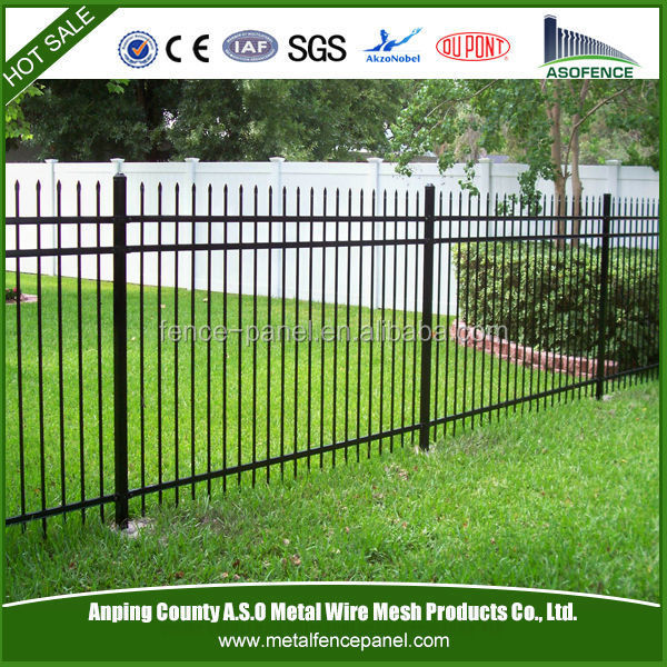 Acero recubierto de pvc valla valla de hierro para el for Vallas de hierro para jardin
