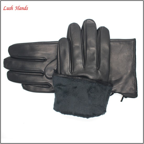 Ladies black warm leather gloves with tassels fashion leather gloves