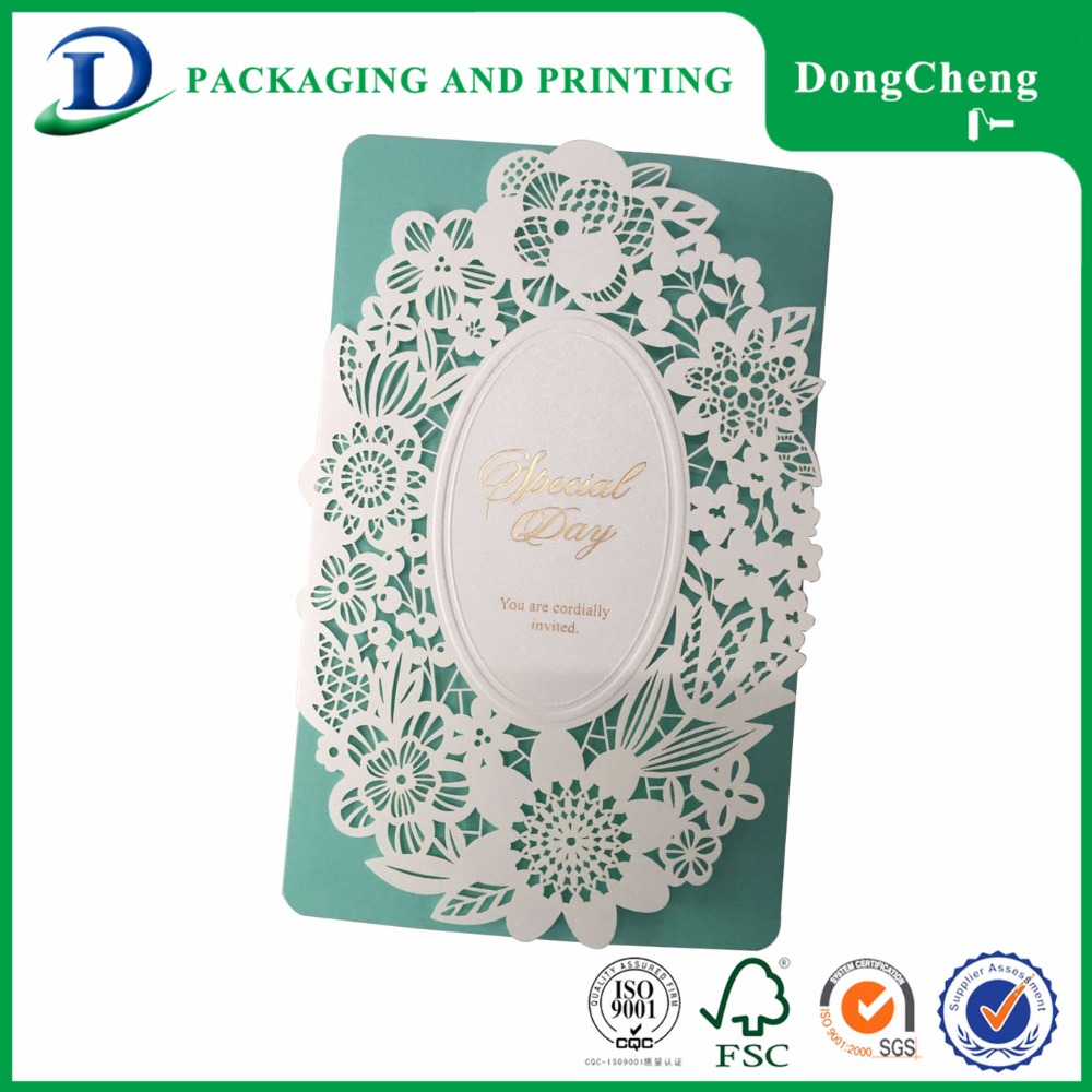 2016 Chinese style blue artificial a4 wedding invitation card paper
