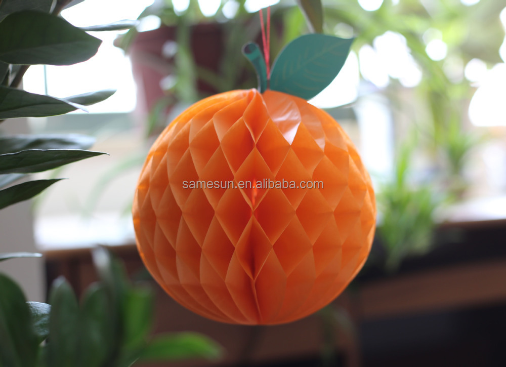 Orange paper fruit honeycomb decorations buy honeycomb for Fruit orange decoration