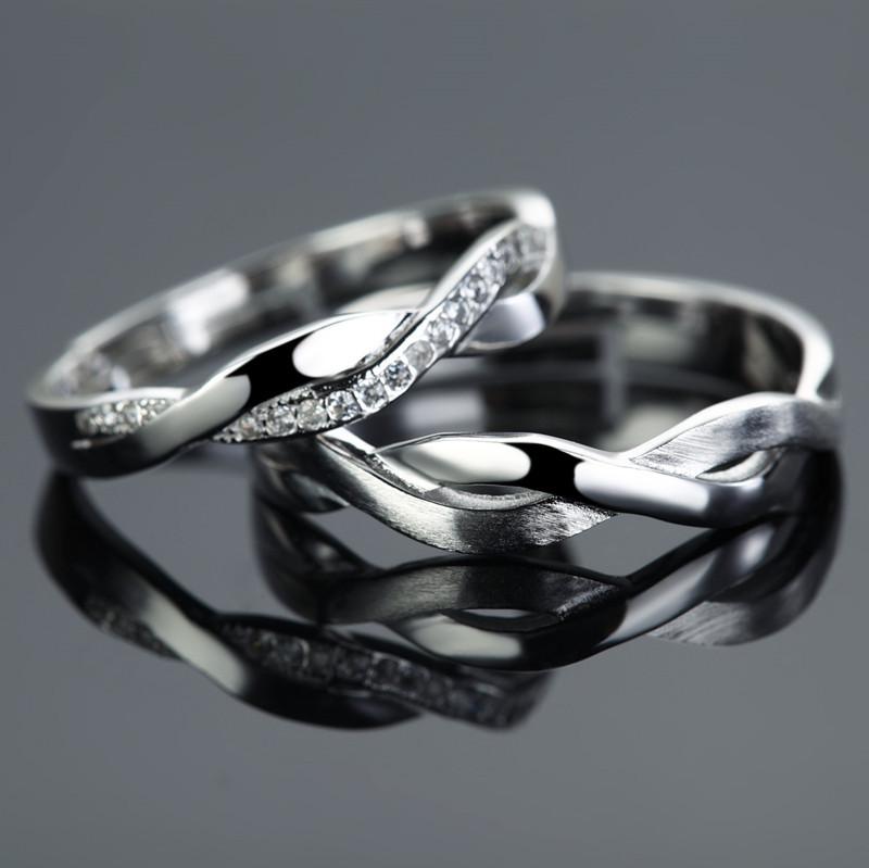 Loyal Couple Infinity Symbol S925 Silver Plain Engagement Couple ...