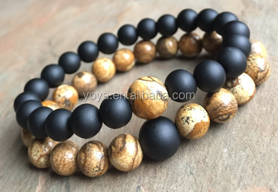 BRY1622 wholesale 8mm round matte onyx and picture jasper beads couple bracelet jewelry