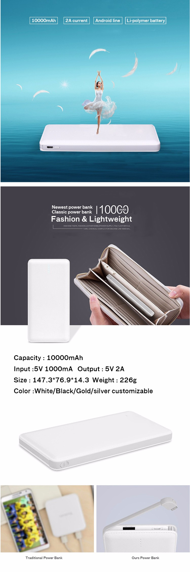 Wholesale ultra-thin high capacity power bank usb power bank