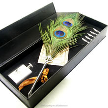 Peacock Feather naturally shed feather pen writing set free nibs