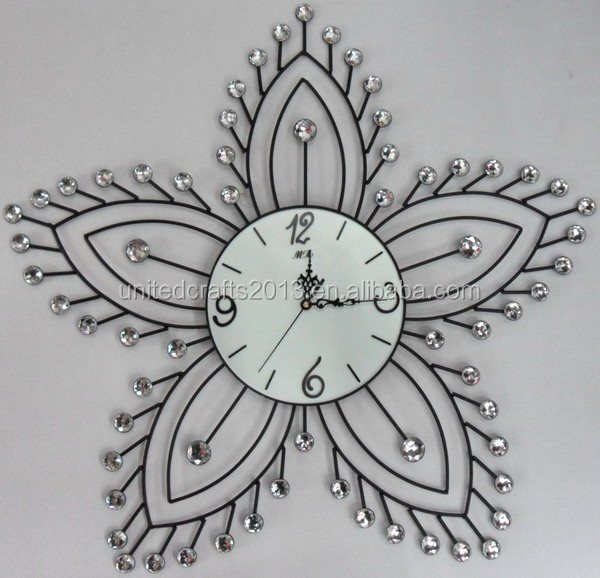 Arts and crafts wall clocks, crystal metal wall clock for promotion