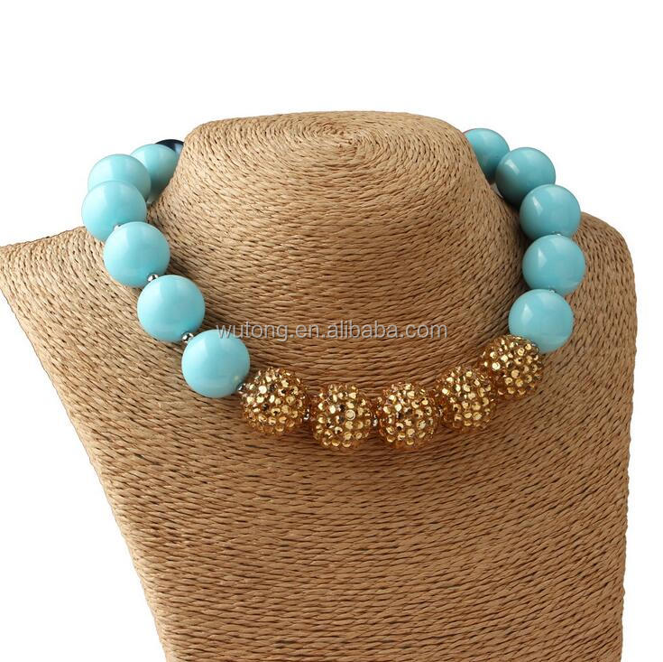 High Quality Lastest Design Fashion Jewelry Kids Chunky Bubblegum Necklace Gold Rhinestone Balls/Aqua Beaded Jewelry Necklace