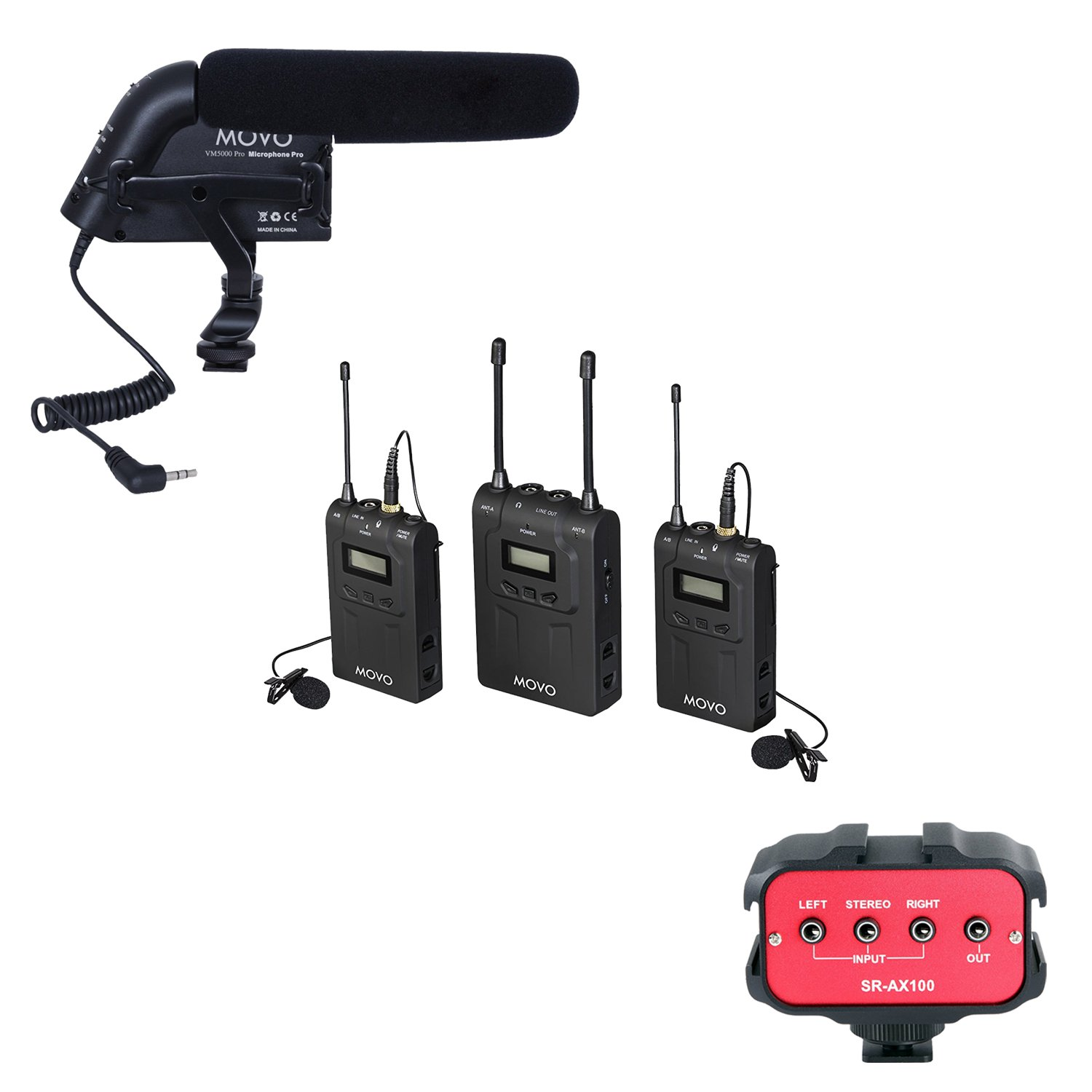 Movo Recording Enhancement Kit with UHF Wireless Lavalier Microphone System, Shotgun Condenser Video Microphone, and 2 Channel 3.5mm Audio Adapter for DSLR Cameras & Camcorders