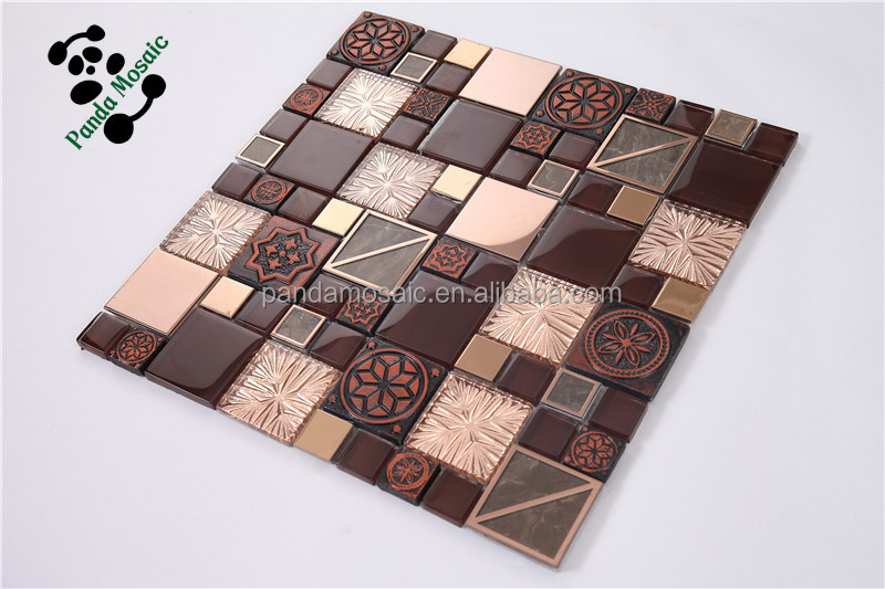 2015 new design liquid luster brick glass mosaic tiles for living room smp21 - Glass Tile Living Room 2015
