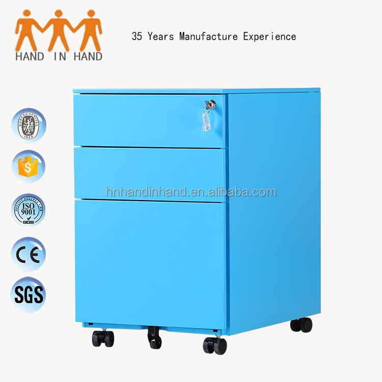 Colorful Office Equipment for A4 File Cabinet 3 Drawer Mobile Pedestal