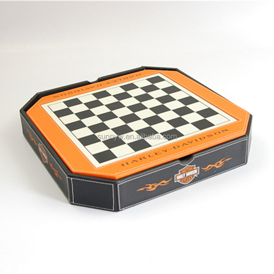 Octagon Pu leather backgammon chess sets 5 in 1 multi game set