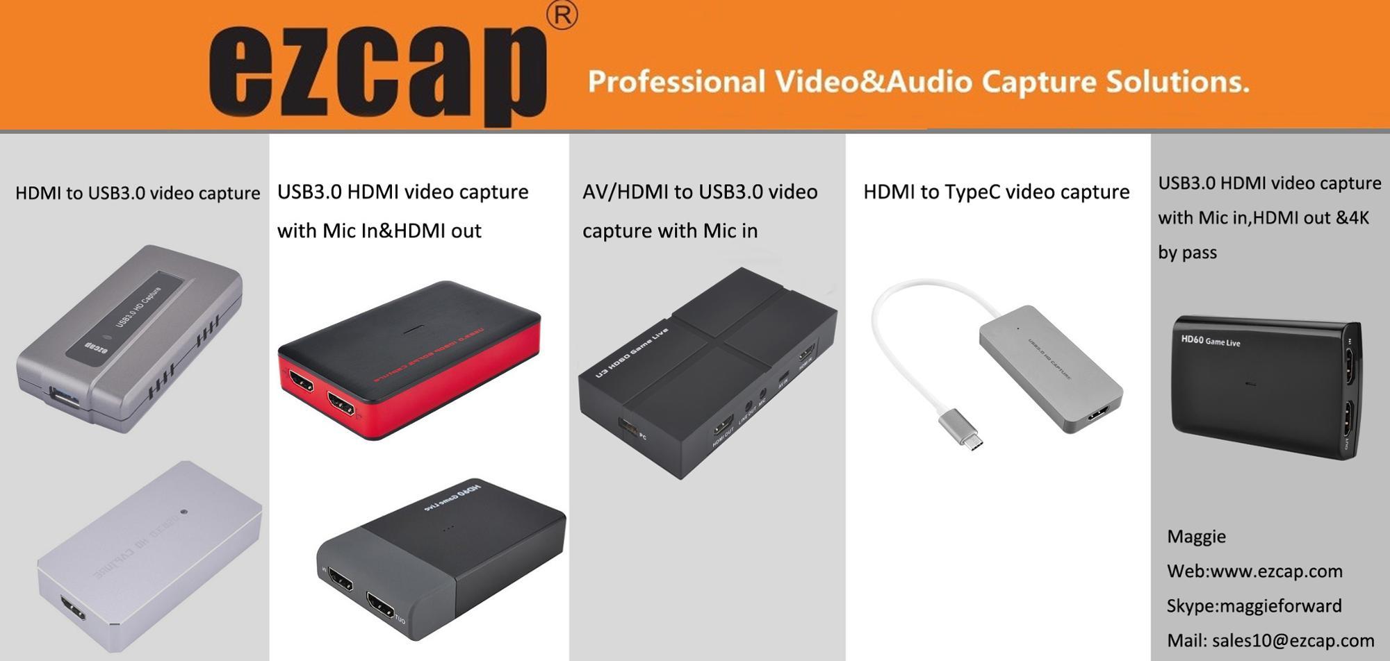 1080P HDMI to USB 3.0 UVC Capture Card Dongle for Live streaming with MIC in 4K 60fps by pass ezcap266