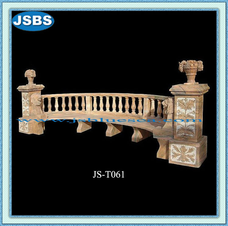 Stone Carved Long Back Chinese Style Garden Bench