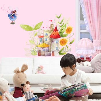 Dessin Anime Fleur Fee Chateau Sticker Mural Chambre Bebe Enfants Filles Chambre Stickers Muraux Decor A La Maison Art Mural Autocollant Buy