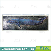 Framed handmade seascape oil painting lacuqer blue whale for home decoration