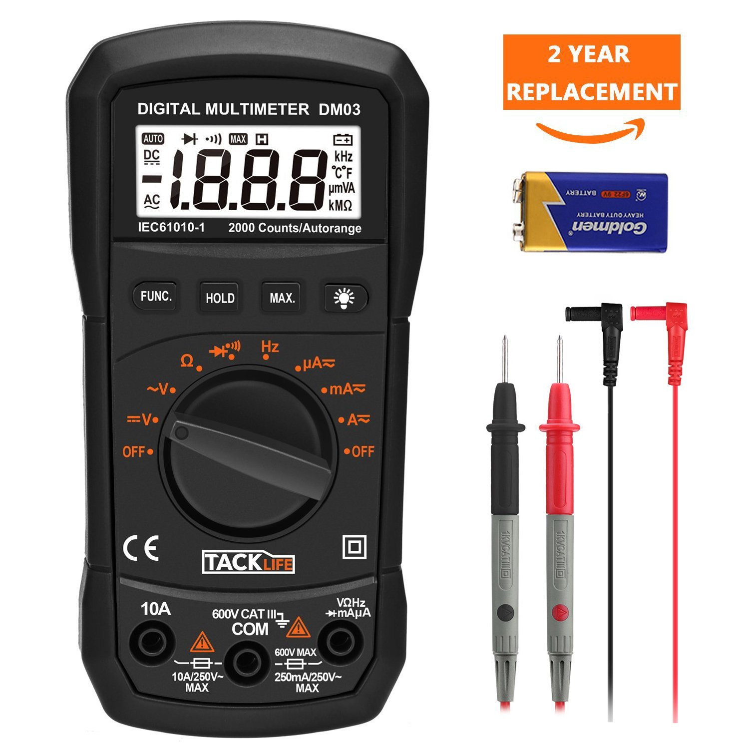 Multimeter, Tacklife DM03 Auto Ranging Digital Multimeter Volt Amp Ohm Digital Multimeter, Diode Electronic Meter, Continuity Digital Tester with Backlit LCD, Max Value Measurement Tools