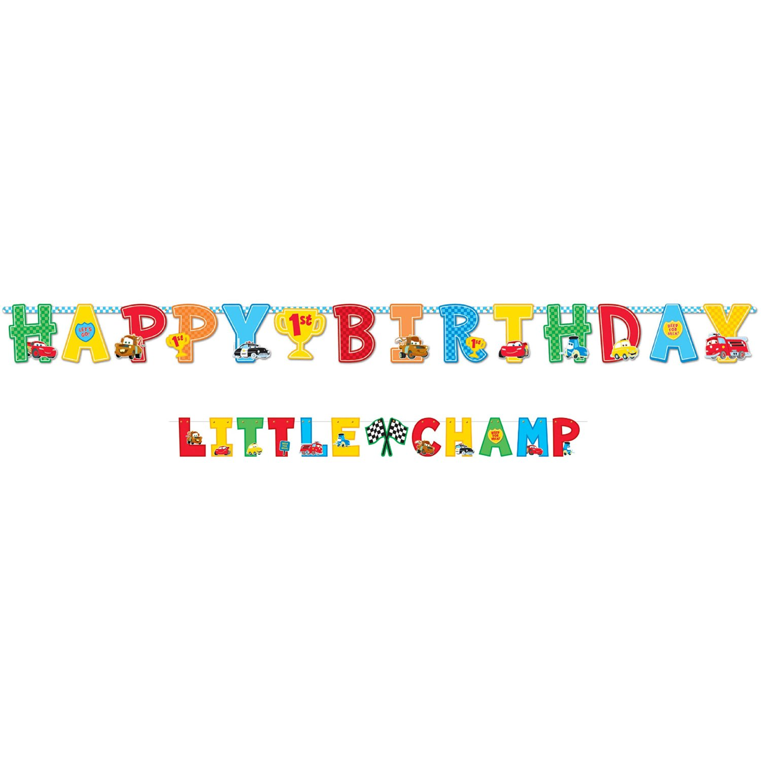 Cars 1st Birthday Jumbo Letter Banner Kit (1ct)
