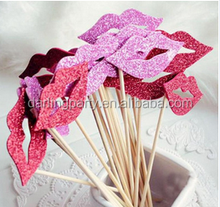 hot wholesale decoration glitter moustache lips photo booth props